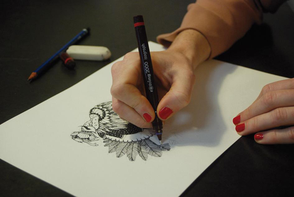 Artist Using Isograph Pen