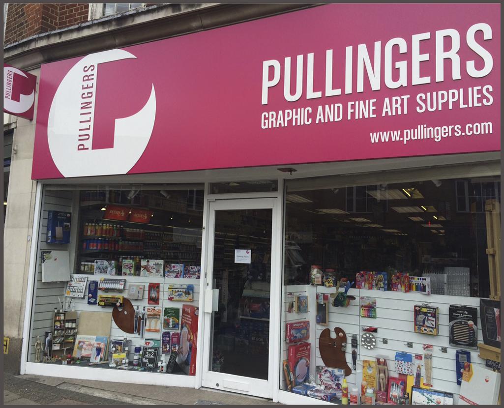 Pullingers Art Shop store front Epsom