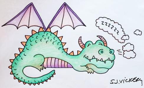 Finished Cartoon Dragon By Sarah Vickery