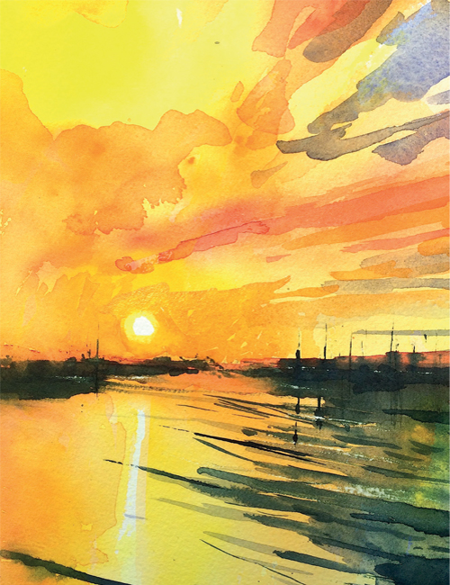 Winsor & Newton Cadmium Free Watercolour Tutorial Estuary Sunrise