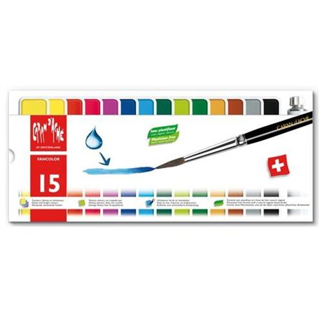 Caran d'Ache Fancolor Box of 15 Water Based Gouache Paints Image 1