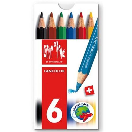 Caran d'Ache Fancolor Box of 6 Water Soluble Mini Colour Pencils Image 1