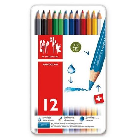 Caran d'Ache Fancolor Tin of 12 Water Soluble Colour Pencils Image 1