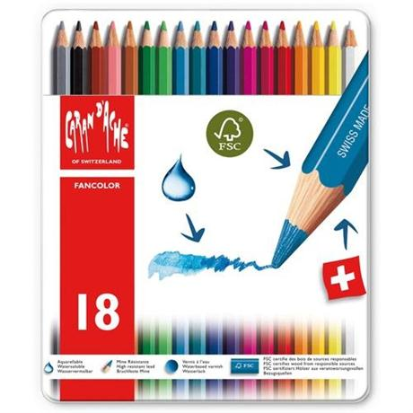 Caran d'Ache Fancolor Tin of 18 Water Soluble Colour Pencils Image 1
