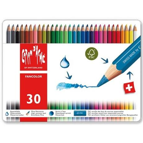 Caran d'Ache Fancolor Tin of 30 Water Soluble Colour Pencils Image 1