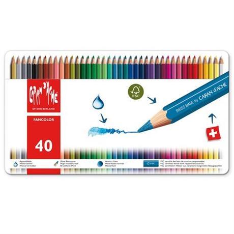 Caran d'Ache Fancolor Tin of 40 Water Soluble Colour Pencils Image 1