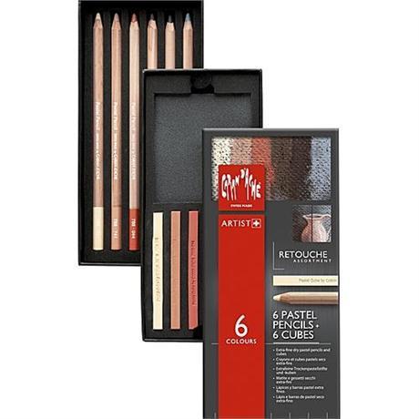 Caran d'Ache Retouche Set - 6 Pastel Pencils & 6 Pastel Cubes Image 1