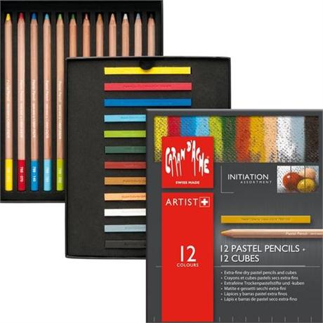 Caran d'Ache Initiation Set - 12 Pastel Pencils & 12 Pastel Cubes Image 1