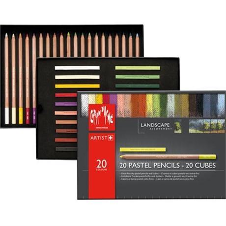 Caran d'Ache Landscape Set - 20 Pastel Pencils & 20 Pastel Cubes Image 1