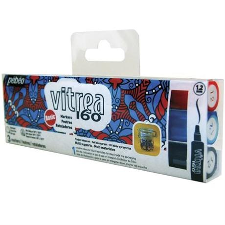 Pebeo Vitrea 160 Marker Pen Set Of 3 Basic Colours Image 1