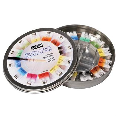 Pebeo Watercolour Classic 12 Half Pan Round Metal Tin Image 1