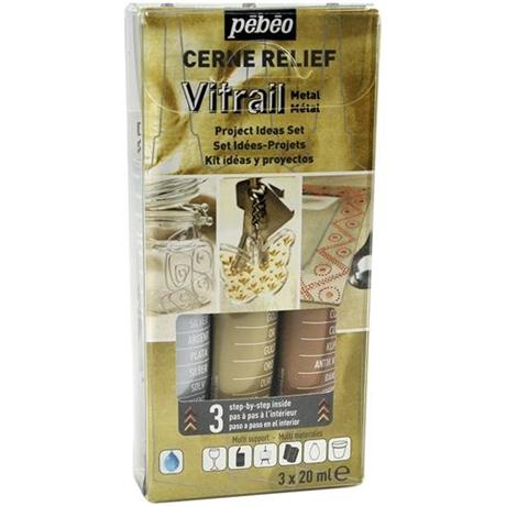 Pebeo Cerne Relief Metal Set 3 x 20ml Image 1