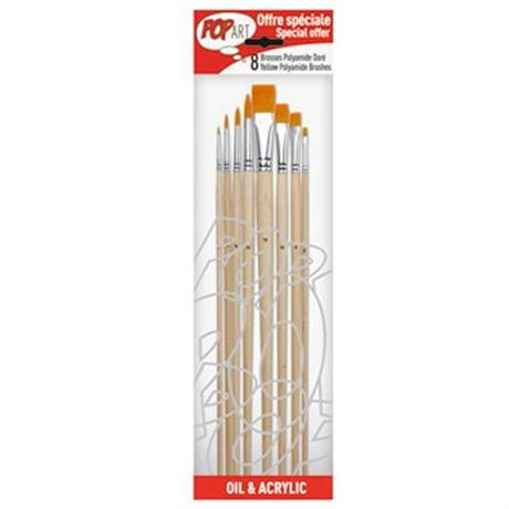Pebeo Set of 8 Yellow Polyamide Brushes Image 1