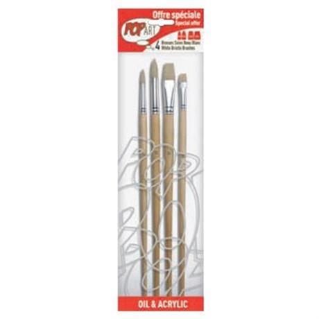 Pebeo Set of 4 White Bristle Brushes Image 1