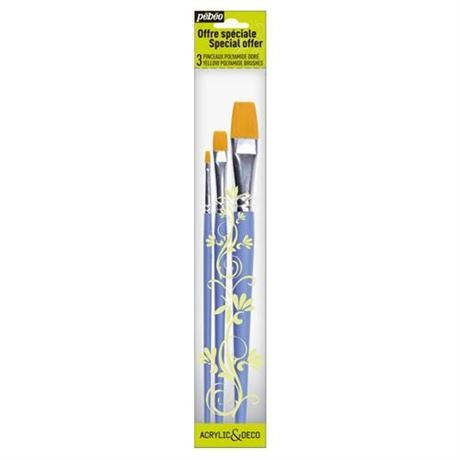 Pebeo Brush Set 3 short handle flat Image 1