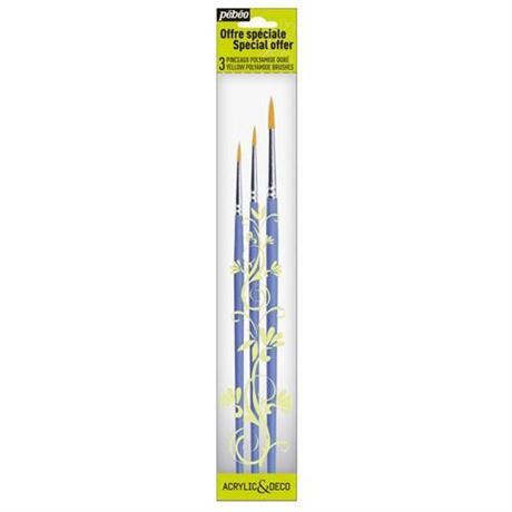 Pebeo Brush Set 3 short handle round Image 1