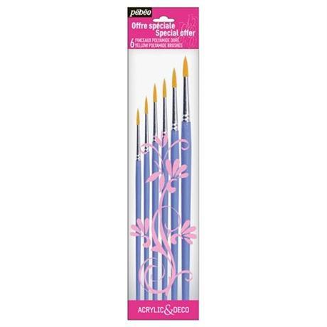Pebeo Brush Set 6 Round short handle Image 1