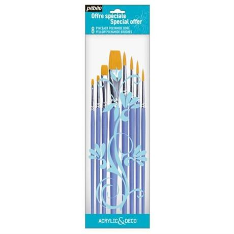 Pebeo Acrylic & Deco Brushes Set of 8 Round & Flat Image 1
