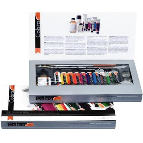 Cobra Water Mixable Oil Paint Gift Set 10 x 40ml & Accessories Image 1