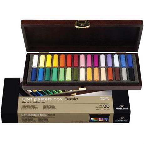 Rembrandt 30 Half Pastels Basic Wooden Box Set Image 1