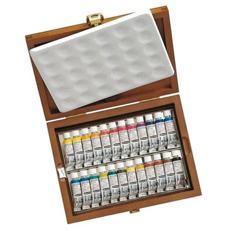 Schmincke HORADAM Watercolour Wooden Box Set 24 x 5ml Tubes Image 1