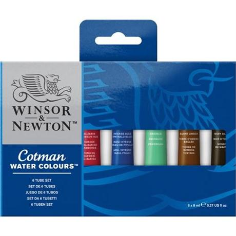 Cotman Watercolour 6 x 8ml Tube Set Image 1