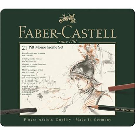 Faber Castell Pitt Monochrome Set of 21 items Image 1
