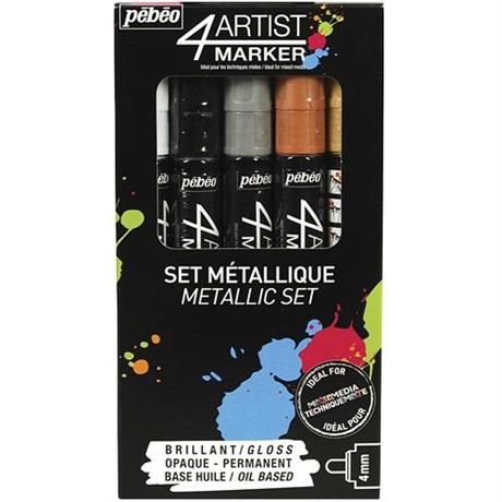Pebeo 4ARTIST MARKER Set Of 5 Assorted Metallic 4mm Pens Image 1