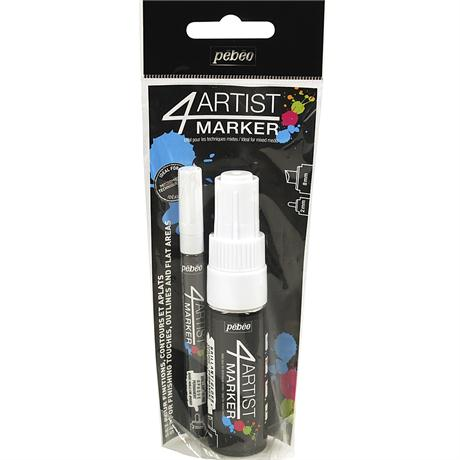 Pebeo 4ARTIST MARKER Set Of 2 White Pens Image 1