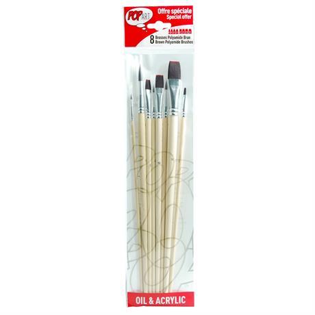 Pebeo Set Of 8 Brown Polyamide Brushes Image 1
