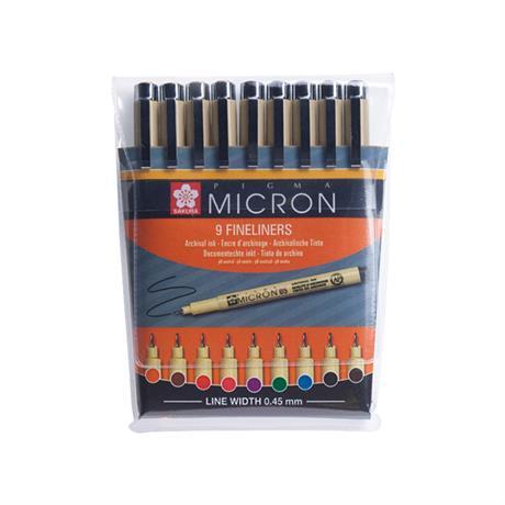 Pigma Micron Wallet 9 Colour Fineliners Image 1