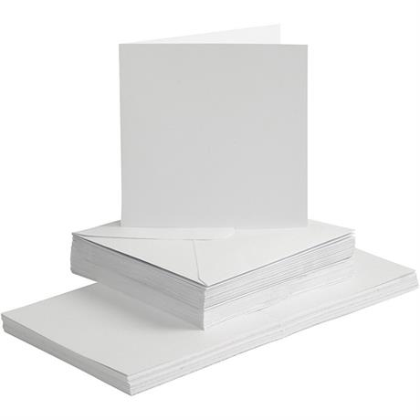 The Creativ Co. Square Card & Envelope Pack x 50 White