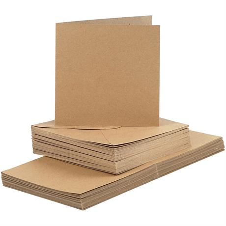 The Creativ Co. Square Card & Envelope Pack x 50 Kraft