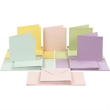 The Creativ Co. Square Card & Envelope Pack x 50 Pastel