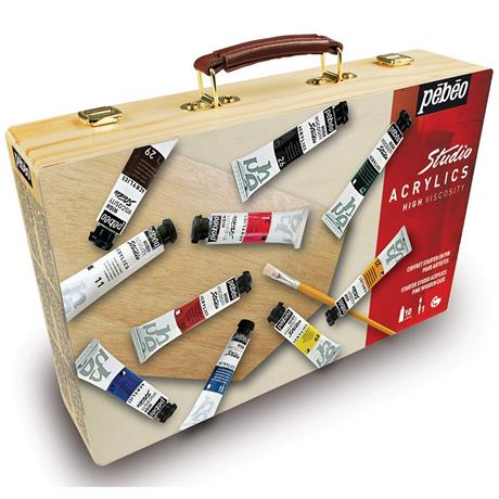 Pebeo Studio Acrylic Paint Starter Kit Wooden Box Image 1