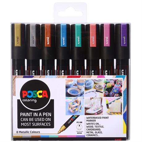 POSCA PC-5M Metallic Set Of 8 Pens Image 1
