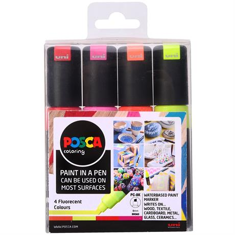 POSCA PC-8K Fluorescent Pack Of 4 Pens Image 1