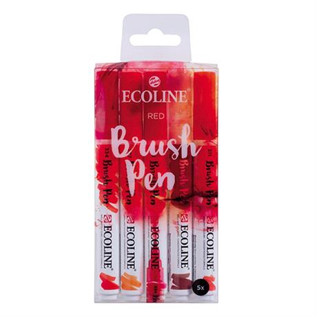 Ecoline Brush Pen Set Of 5 Red Colours Image 1