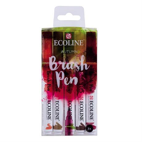Ecoline Brush Pen Set Of 5 Autumn Colours Image 1