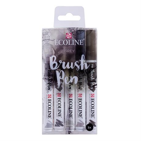 Ecoline Brush Pen Set Of 5 Grey Colours Image 1
