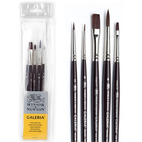 Galeria Short Handle Acrylic Brush Set of 5 Image 1