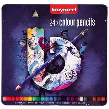 Bruynzeel 24 Colour Pencils In Blue Tin Image 1