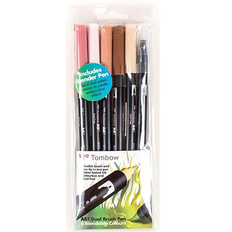Tombow Dual Brush Pen Set Of 6 Skin Tones Image 1