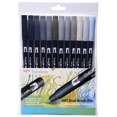Tombow Dual Brush Pen Set of 12 - Grey Shades Image 1