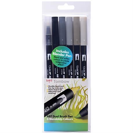 Tombow Dual Brush Pen Set Of 6 Grey Shades Image 1