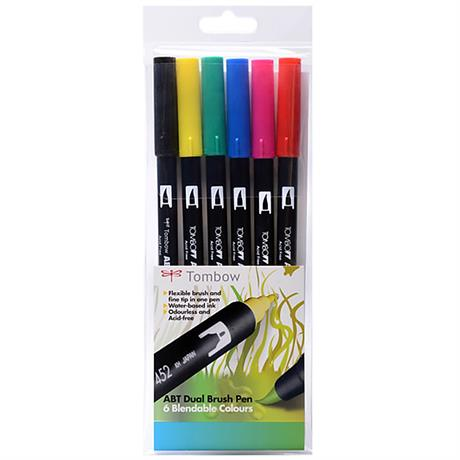 Tombow Dual Brush Pen Set of 6 - Primary Image 1