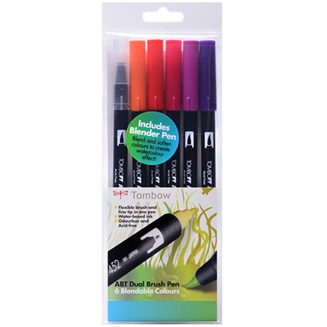 Tombow Dual Brush Pen Set Of 6 Sunset Colours Image 1