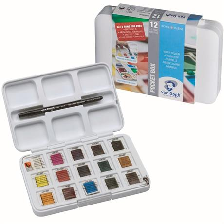 Van Gogh Water Colour Pocket Box 12 Half Pans & Brush Image 1