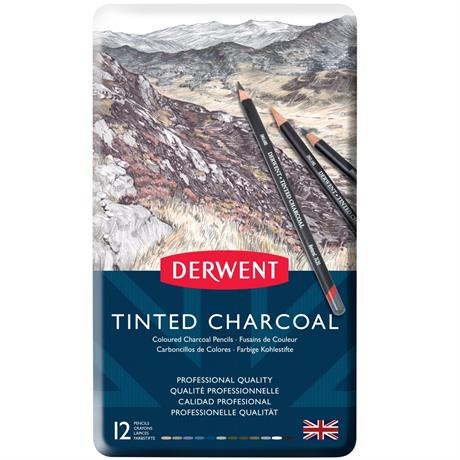 Derwent Tinted Charcoal Tin of 12 Image 1
