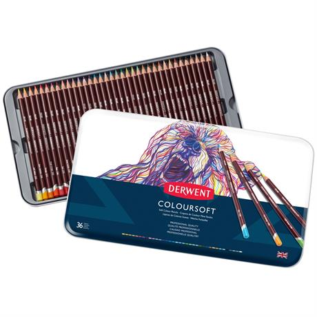 Derwent Coloursoft Pencils Tin of 36 Image 1